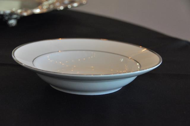 Where to find wide rim bowl 8  WHT SILVER TRIM in Covington