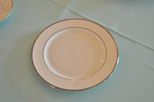 Where to find PLATE, SALAD WHT SILVER TRIM in Covington